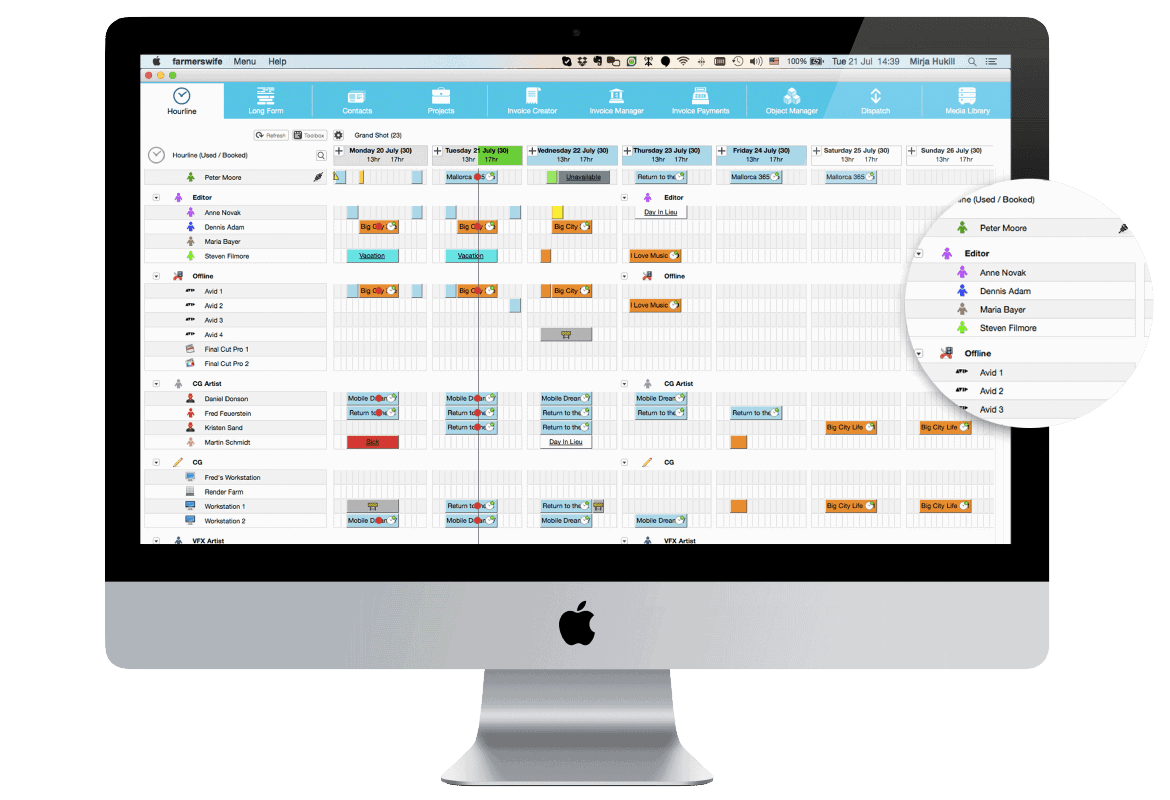 farmerswife project management scheduling software clear user friendly interface imac